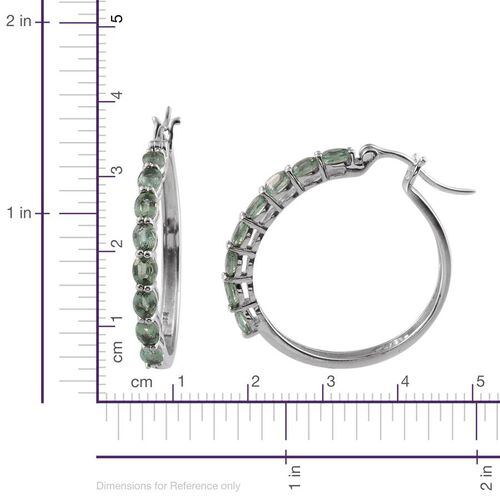 Orissa Green Kyanite (Ovl) Hoop Earrings in Platinum Overlay Sterling Silver 3.000 Ct.