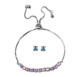 J Francis - 2 Piece Set - Crystal From Swarovski AB Crystal (Rnd) Adjustable Bolo Bracelet (Size 6.5