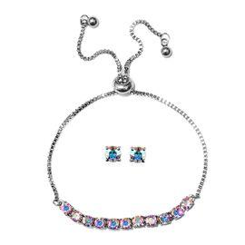 J Francis - 2 Piece Set - Crystal From Swarovski AB Crystal (Rnd) Adjustable Bolo Bracelet (Size 6.5