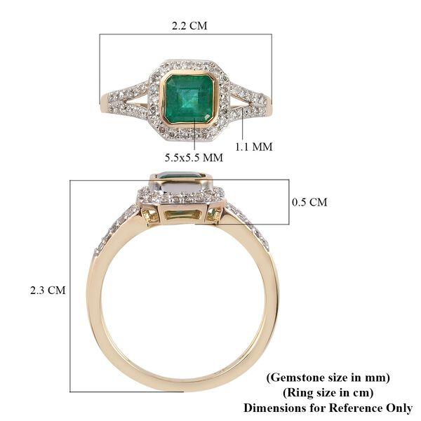 9K Yellow Gold  Zambian Emerald and Diamond Ring 1.12 Ct.