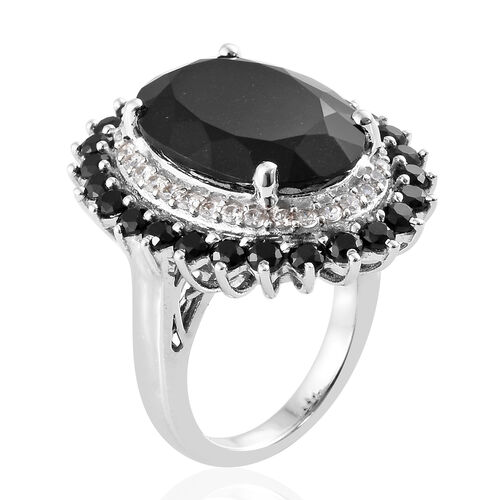 Black Tourmaline (Ovl 12.40 Ct), Boi Ploi Black Spinel, Natural Cambodian Zircon Ring in Platinum Overlay Sterling Silver 15.250 Ct, Silver wt 6.80 Gms.