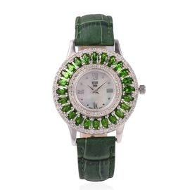 EON 1962 Swiss Movement Russian Diopside (6.0 Ct) and Natural Cambodian Zircon (1.8 Ct) Sterling Sil