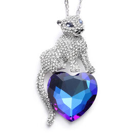 Simulated Sapphire and White Austrian Crystal Cat Sitting on Heart Pendant with Chain in Silver Tone