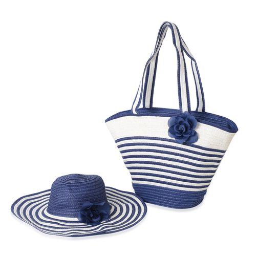Summer Special - Blue and White Colour Flower Adorned Stripe Pattern Tote Bag (Size 47x30x20x13 Cm) and Hat (Size 29x24 Cm)