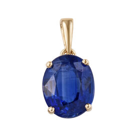 One Time Deal-Extremely Rare Size 9K Yellow Gold AAAA Kashmir Blue Kyanite (Ovl 11x9 mm) Pendant 4.5