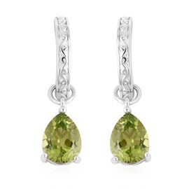 Hebei Peridot (Pear) Earrings (with Clasp) in Rhodium Overlay Sterling Silver 3.750 Ct.