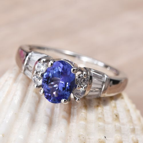 Premium Tanzanite (Ovl), Natural Cambodian Zircon Ring in Platinum Overlay Sterling Silver 1.65 Ct.