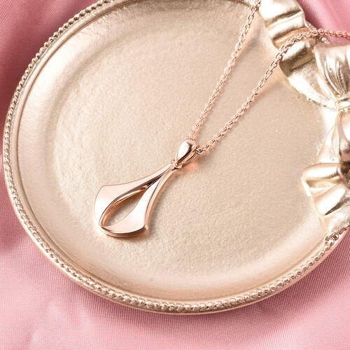 RACHEL GALLEY Rose Gold Overlay Sterling Silver Pendant With Chain (Size 18/24/30), Silver wt 11.77 Gms