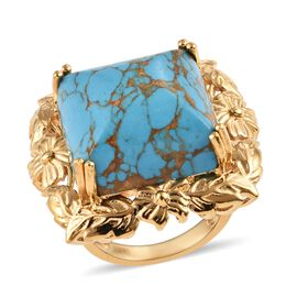 Blue Mojave Turquoise (Oct 18x18 mm) Ring in 18K Yellow Gold Plated 26.00 Ct.