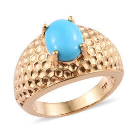 1.50 Carat Sleeping Beauty Turquoise Solitaire Ring in Gold Plated Sterling Silver 6.6 Grams