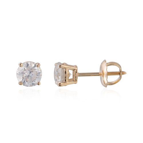New York Close Out- 14K Yellow Gold EGL Certified Diamond (Rnd) (I1-I2/G-H) Earrings (with Screw Back) 1.000 Ct.