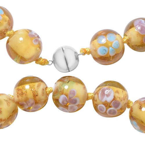 Millefiori Collection- Champagne Colour Murano Style  Glass Beads Necklace (Size 20) with Magnetic Lock