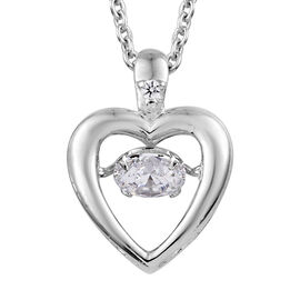J Francis Made with SWAROVSKI ZIRCONIA Dancing Pendant with Chain in Platinum Plated Sterling Silver