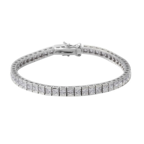 ELANZA Simulated Diamond (Rnd) Bracelet (Size 7) in Rhodium Overlay Sterling Silver, Silver wt 13.20