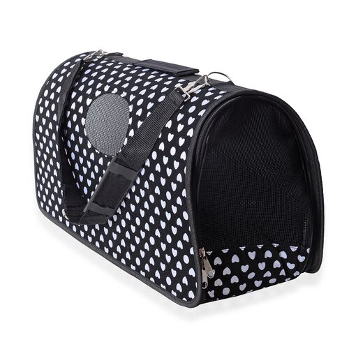Black Colour Pet Carrier with White Heart Pattern (Size 45x28x20 Cm), Unfoldable Size (93x48 Cm) and Belt (Size 100 Cm)