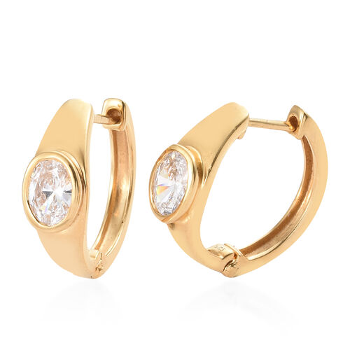 J Francis - 14K Gold Overlay Sterling Silver (Ovl) Hoop Earrings (With Clasp) Made With SWAROVSKI ZI