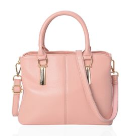100% Genuine Leather Pink Colour Tote Bag with External Zipper Pocket and Removable Shoulder Strap (