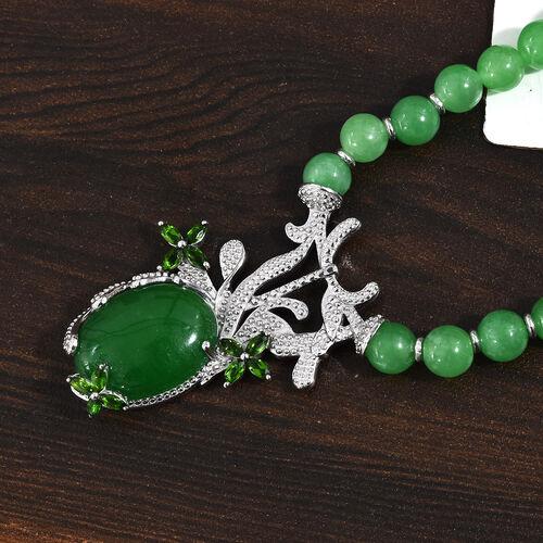 Green Jade (Ovl 20x15 mm), Russian Diopside Beaded Neckalce (Size 20)