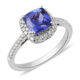 ILIANA 1.52 Ct AAA Tanzanite and Diamond Halo Ring in 18K White Gold 3.06 Grams SI GH