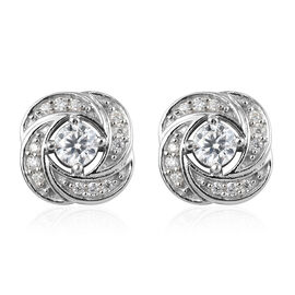 Moissanite Stud Push Post Earrings (with Push Back) in Platinum Overlay Sterling Silver