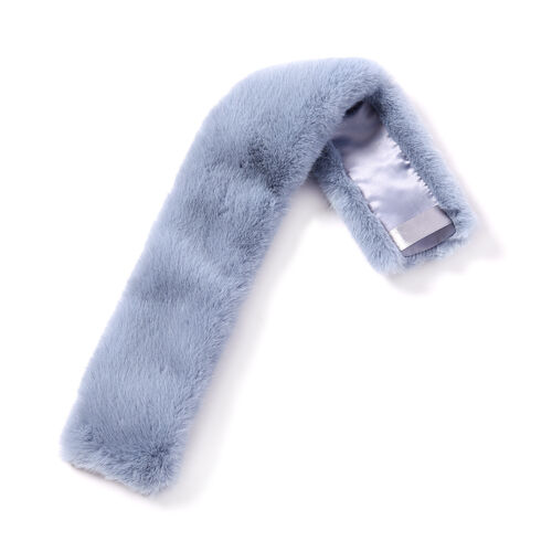 Light Blue Faux Fur Scarf (58x10cm) with Navy Blue Leopard Print Satin Scarf (70x70cm)