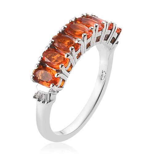 Jalisco Fire Opal and Diamond Half Eternity Ring in Platinum Overlay Sterling Silver