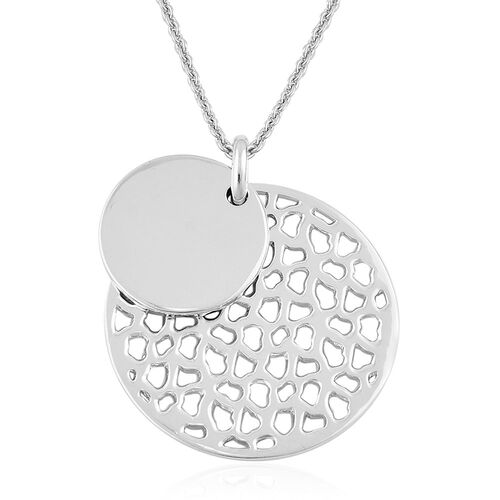 RACHEL GALLEY Rhodium Plated Sterling Silver Ocean Lattice Necklace (Size 30), Silver wt 20.00 Gms.
