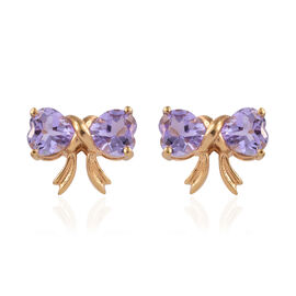 Rose De France Amethyst (Hrt) Bow Knot Earrings (with Push Back) in 14K Gold Overlay Sterling Silver