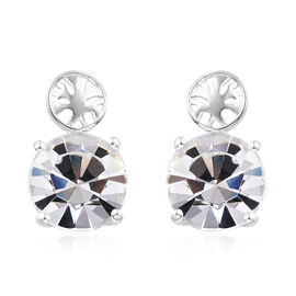 J Francis - Crystal from Swarovski - White Crystal (Rnd) Stud Earrings (with Push Back) in Sterling Silver