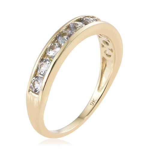 9K Yellow Gold AA Green Tanzanite (Rnd) Half Eternity Band Ring 0.850 Ct.