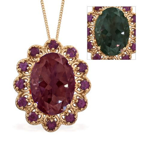 Colour Change Alexandrite Quartz  (Ovl 13.50 Ct), Purple Garnet Pendant With Chain in 14K Gold Overl