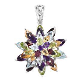 Rhodolite Garnet, Sky Blue Topaz, Hebei Peridot and Multi Gemstone Flower Pendant in Platinum Overlay Sterling Silver 10.000 Ct. Silver wt 7.29 Gms.