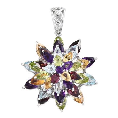 Rhodolite Garnet, Sky Blue Topaz, Hebei Peridot and Multi Gemstone Flower Pendant in Platinum Overla