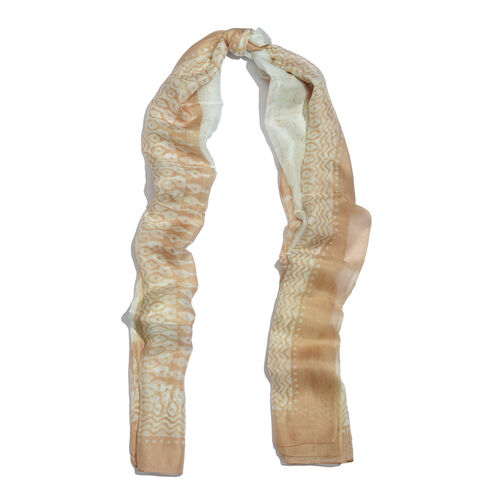 100% Mulberry Silk White Colour Floral Pattern Beige Colour Scarf (Size 180x100 Cm)