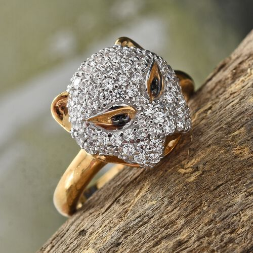 J Francis - 14K Gold Overlay Sterling Silver (Rnd) Leopard Ring Made with SWAROVSKI ZIRCONIA and Boi Ploi Black Spinel. Silver wt 6.05 Gms.