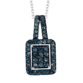 Blue Diamond (Rnd) Pendant With Chain (Size 20) in Platinum and Blue Overlay Sterling Silver 0.330 Ct.