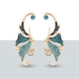 Austrian Blue and Green Crystal Climber Earrings (with Push Back) in Gold Tone
