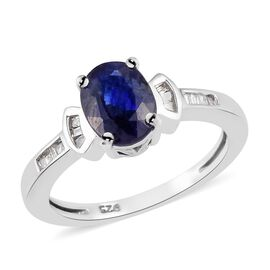 AA Masoala Sapphire and Diamond Ring in Platinum Overlay Sterling Silver 1.75 Ct.