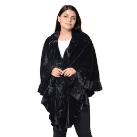 Super Soft Faux Fur Free Size Wrap with Loose Silhouette with Ruffle Border (L-70 Cm) - Black