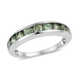 9K White Gold AA Russian Demantoid Garnet (Rnd) Half Eternity Band Ring 1.250 Ct.