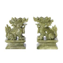 Set of 2 - Handcrafted Jade Decorative Pixiu Figurine (Size 7.5x12 Cm) - Green