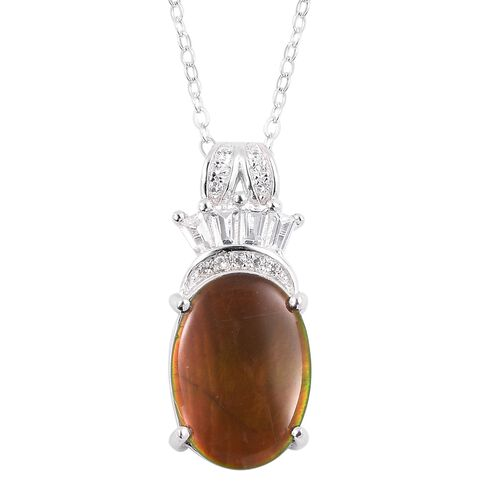AA Canadian Ammolite (Ovl 14x10 mm), White Topaz Pendant with Chain in Rhodium Overlay Sterling Silv