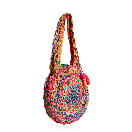 100% Natural Cotton Multi Colour Circle Pattern Shoulder Bag in Round Shape (Size 33x7.5 Cm)