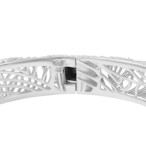 Isabella Liu Sea Rhyme Collection - White Austrian Crystal Bangle (Size 7) in Rhodium Overlay Sterling Silver, Silver wt 58.23 Gms