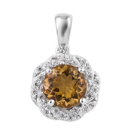 2.55 Ct Heliodor and Cambodian Zircon Halo Pendant in Sterling Silver