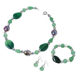 3 Piece Set - Green Agate and Simulated Emerald Necklace (Size 20), Hook Earrings and Stretchable Br