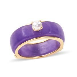 27.66 Ct Carved Purple Jade and Zircon Band Ring in Gold Plated Sterling
