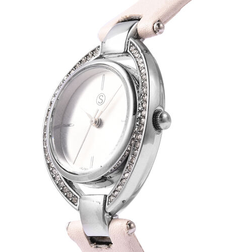 STRADA Japanese Movement White Austrian Crystal Studded Water Resistant Watch with Rice White Colour Strap