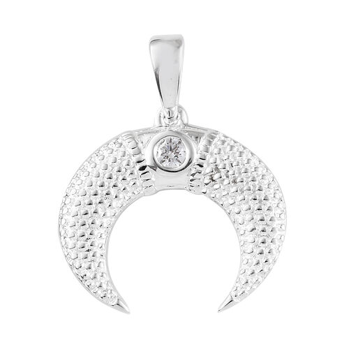 J Francis -Sterling Silver (Rnd) Half Moon Pendant Made With SWAROVSKI ZIRCONIA, Silver wt 4.31 Gms.