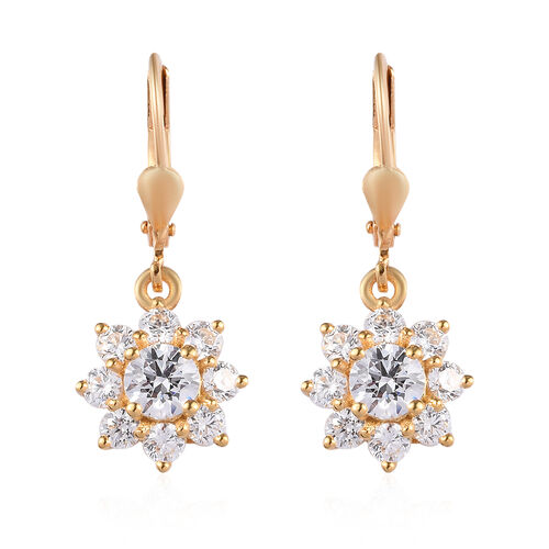 J Francis - 14K Gold Overlay Sterling Silver Lever Back Floral Halo Earrings Made with SWAROVSKI ZIR